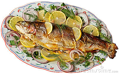 Baked trout isolated on white.