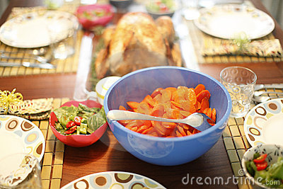 Baked turkey and sides