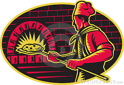 Baker Baking Pizza Wood Oven Woodcut