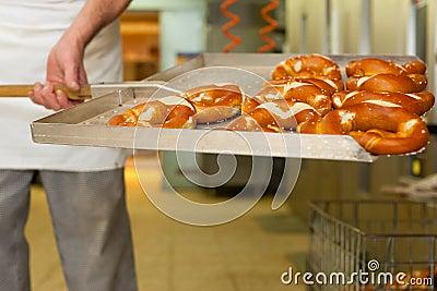 Baker in his bakery