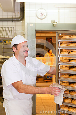 Baker in his bakery