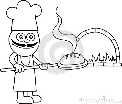 Royalty Free Stock Photo Baker Holding Bread Hand Drawn Cartoon Peel Front Brick Oven Image38742435 on oven tray
