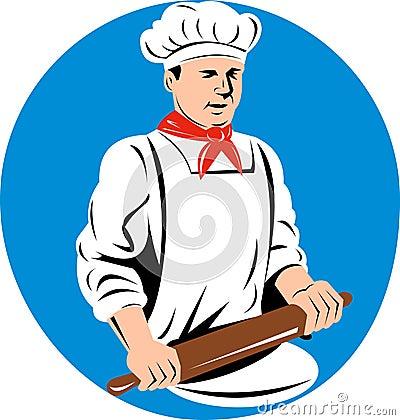 Baker holding rolling pin