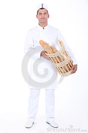 Free Baker With Bread Basket Stock Photography - 35910302