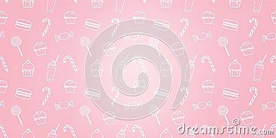 Bakery cute cupcake candy milkshake macaroon sweet pink icon cafe pattern background Stock Photo