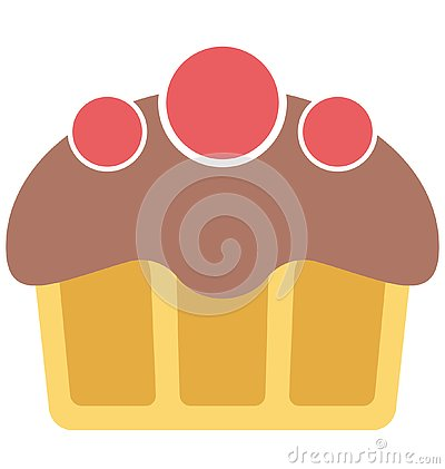 Bakery food, cupcake Isolated Color Vector Icon that can be easily modified or edit. Vector Illustration