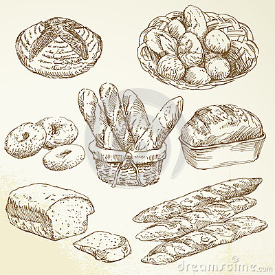 Bakery, loaf, baguette - hand drawn collection