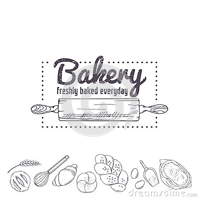 Free Bakery Logo Template. Hand Drawn Rolling Pin And Baking For Your Design. Sketched Illustration Royalty Free Stock Images - 58769979