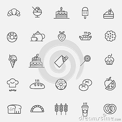 Free Bakery, Pastry Icons Set - Bread, Donut, Cake, Cupcake Royalty Free Stock Image - 69950616