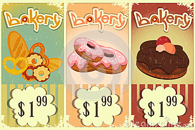 Bakery price tags Vintage