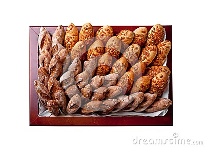 Bakery products in a square basket