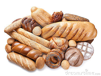 Bakery products on white