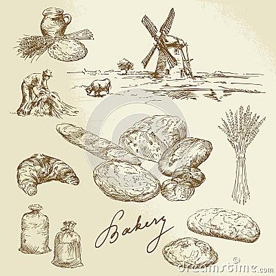 Bakery, rural landscape, bread
