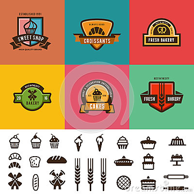 Free Bakery Shop Vintage Labels Logo Vector Design. Can Royalty Free Stock Image - 75102436