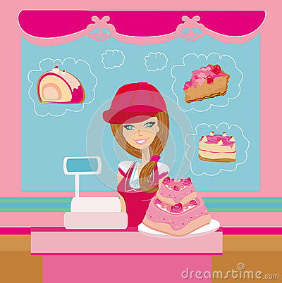 Bakery store - saleswoman serving large pink cake