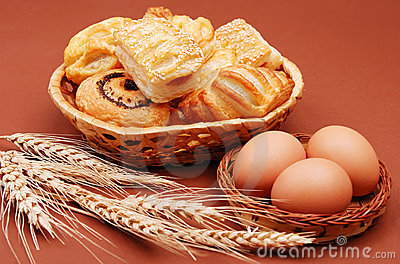 Bakery with wheat ear and eggs