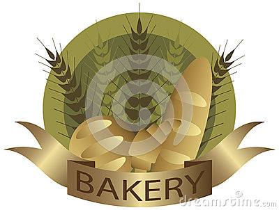 Bakery Wheat Stalk and Bread Label