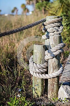 Staket Från Rep På Stranden Arkivfoto - Bild: 63522913