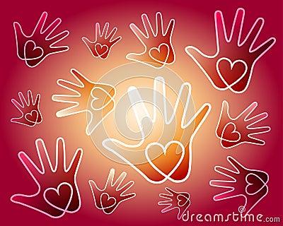 Bakgrund hands hjärta