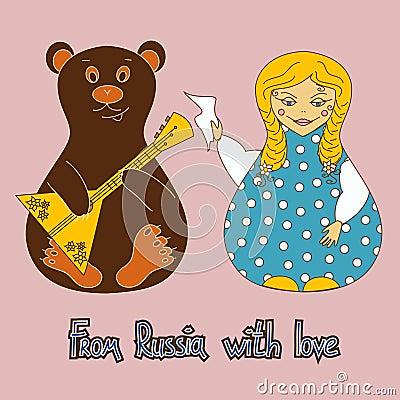 Bakgrund med den ryska dockan och björnen
