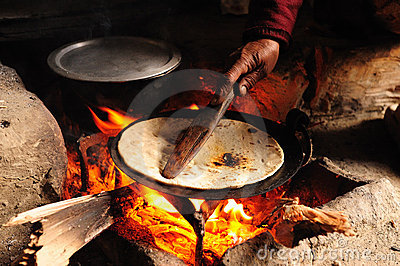 Baking Chapati on Wood Fire