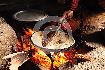 Baking Chapati on Wood Fire