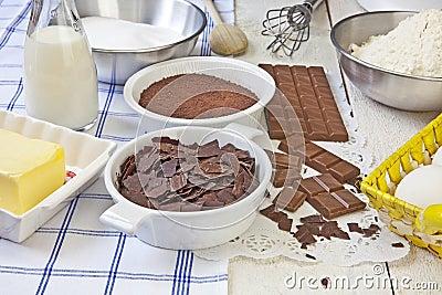 Baking chocolate muffins Stock Photo