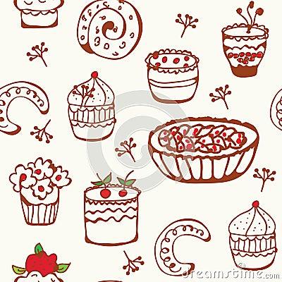 Baking doodle seamless pattern
