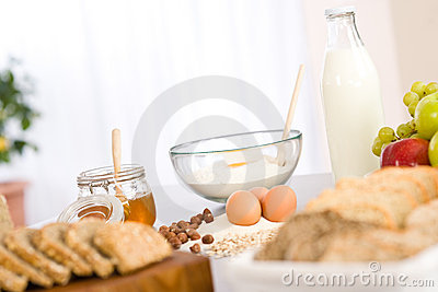 Baking dough ingredients, honey, eggs, flour