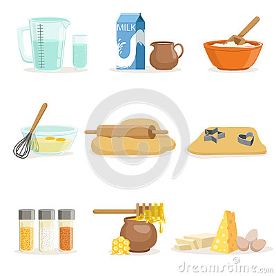 Free Baking Ingredients And Kitchen Tools And Utensils Set Of Realistic Cartoon Vector Illustrations With Cooking Related Stock Images - 87288744
