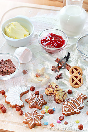 Baking ingredients for cookies or gingerbread
