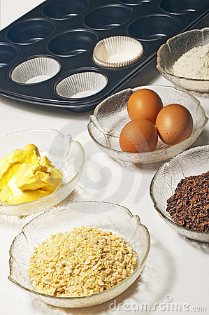 Baking ingredients for muffins