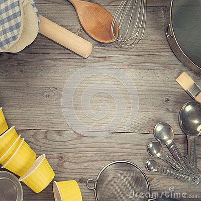 Free Baking Tools In Square Composition Stock Photography - 51575692