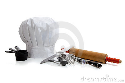 Baking utensils with a chef s hat