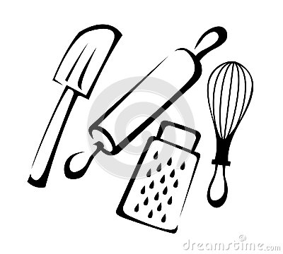 Baking Utensils Line art