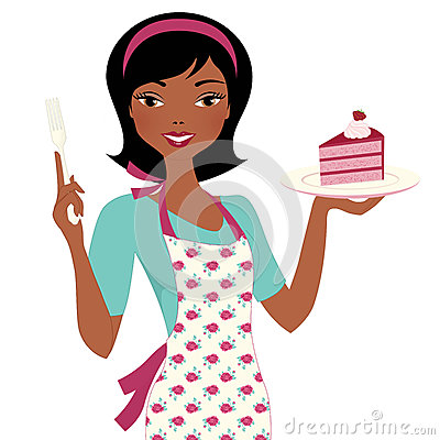 Baking Woman with cake Stock Photo