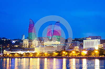 Baku Azerbaijan at Caspian sea- Editorial Stock Photo
