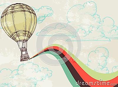 Balão de ar quente retro