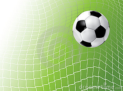 Balón de fútbol en red