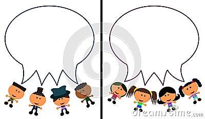 Balões da conversa dos miúdos