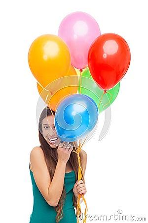 Balões da terra arrendada da mulher