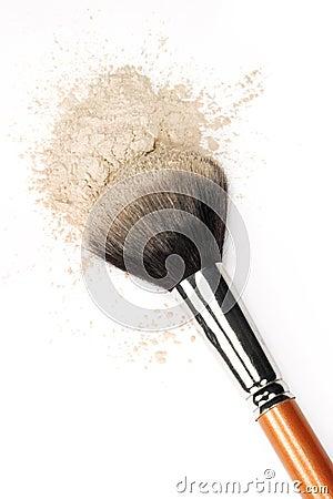Balai et poudre cosmétiques