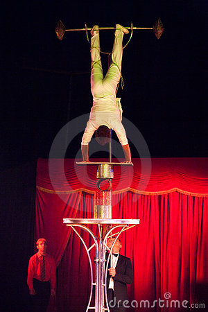 Balance act in circus Editorial Image