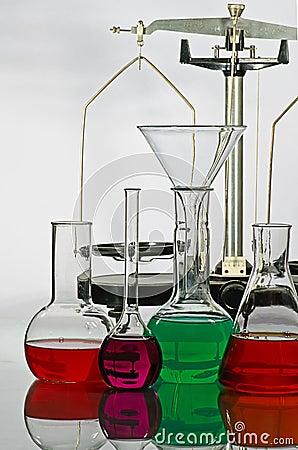Balance and laboratory glassware