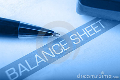 Balance sheet heading with shallow DOF