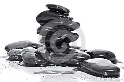 Balanced black zen stones
