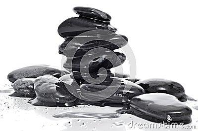 Balanced black zen stones