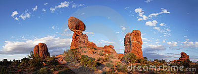 Balanced Rock at Sunset - Panorama