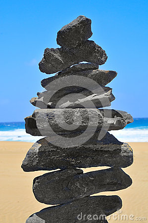 Balanced stack of stones