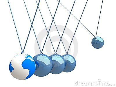 Balancing balls Newton's cradle with world map Stock Photo